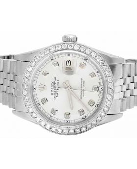 Mens Rolex Datejust 36 MM 16014 Quickset Silver Dial Diamond Watch 3.0 Ct