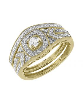 10k Yellow Gold Round Solitaire Diamond Bridal Ring Set (0.40 ct)