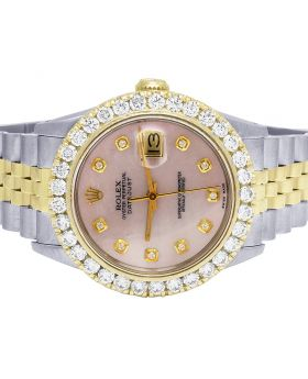 Rolex Datejust 68273 18K/ Steel 31MM Pink Dial Diamond Watch 3.5 Ct
