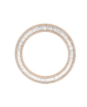 Rose Gold Baguette Round Diamond Bezel for Rolex 40MM Watch 4.0 Ct