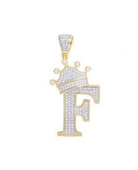 """10K Yellow Gold Diamond Tilted Crown Initial """"F"""" Pendant 0.55 Ct 1.75"""""""