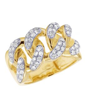 Diamond Cuban Link 10K Yellow Gold Band Ring 1.12CT 14mm