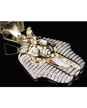 King Tut Pharaoh Egyptian Pendant in Silver w/ Gold Finish (1.35ct)