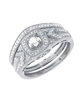 10k White Gold Round Solitaire Diamond Bridal Ring Set (0.40 ct)