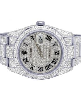 Rolex Datejust 116200 36MM Steel Iced Out Diamond Watch 17.5 Ct