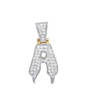 Mens 10K Yellow Gold Drip Initial A Diamond Pendant 1.10 CT