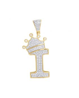"""10K Yellow Gold Diamond Tilted Crown Initial """"I"""" Pendant 0.55 Ct 1.75"""""""