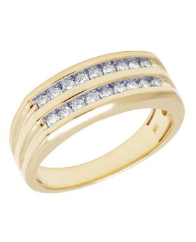 10K Yellow Gold Real Diamond Mens Two Row Channel Ring 0.55 CT