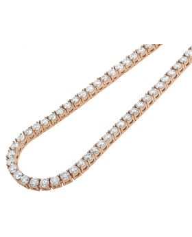 "Rose Gold 4 Prong Set 25 Pointer Diamond Tennis Chain 4MM 20"" 30CT"