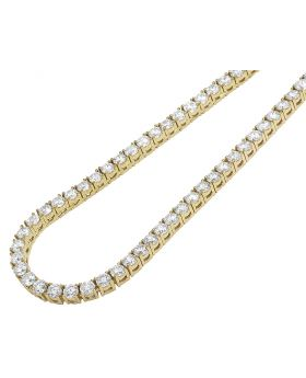 "Yellow Gold 4 Prong Set 25 Pointer Diamond Tennis Chain 4MM 20"" 30CT"