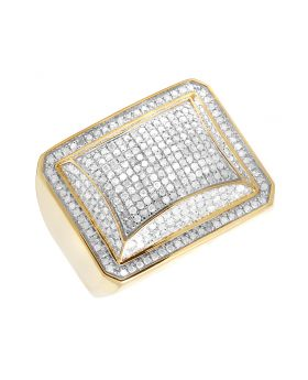 10K Yellow Gold Real Diamond Men's Puff Pinky Ring 1 CT 19MM