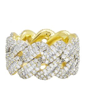 10K Yellow Gold Real Diamond Baguette Cuban Ring Band 14MM 5.5 CT