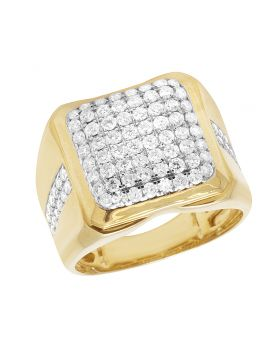 Men's 10K Yellow Gold Diamond Pinky Puff Ring 2 CT 18MM