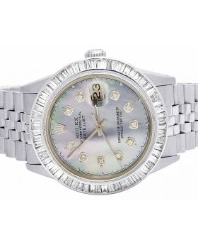 Rolex Datejust 36MM 16014 Quickset Baguette Diamond Watch 4.5 Ct