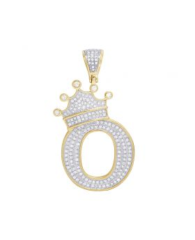 "10K Yellow Gold Diamond Tilted Crown Initial ""O"" Pendant 0.65 Ct 1.7"""