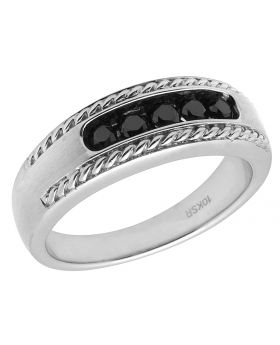 Men's 10K White Gold Matte Rope Geninue Irradiated Black Diamonds Band Ring 0.50ct