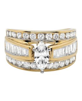14K Yellow Gold Marquise Baguette Genuine Diamond Engagement Cluster Ring 2 ct