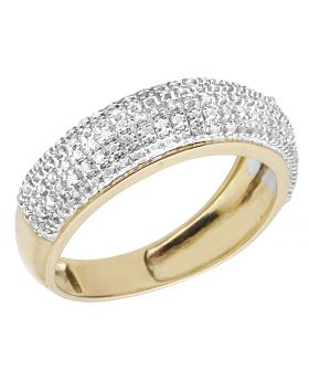10k Yellow Gold Men's 7mm Pave Real Diamond Wedding Band Ring 0.60 ct