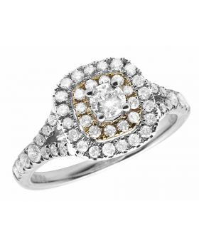 Ladies 14K Two-Tone Gold Real Diamond Engagement Ring 0.90ct
