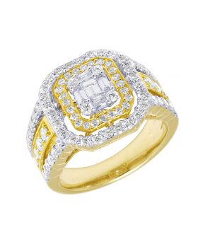 14K Yellow Gold Halo Baguette Engagement Ring 1.75 CT