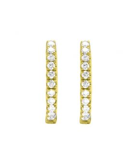 18K Yellow Gold Real Diamond Ladies Hoop Earrings 0.50 CT