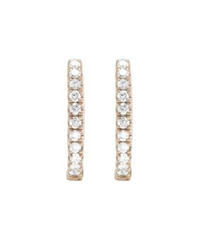 18K Rose Gold Real Diamond Ladies Hoop Earrings 1/2 CT