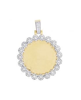 10K Yellow Gold Diamond Cluster Memory Frame Pendant 3.85 CT 2""