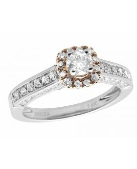 14K Two-Tone Gold Halo Solitaire 3D Real Diamond Engagement Ring 1.0ct