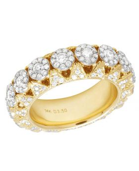 Men's 14K Yellow Gold Real Diamond Cluster Eternity Band Ring 3.5CT 8MM
