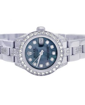 Ladies Rolex Datejust 26MM Blue MOP Dial Diamond Watch 8.0 Ct