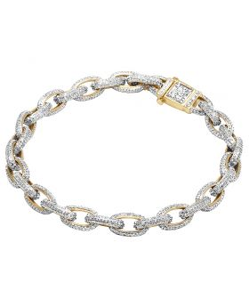 10K Yellow Gold Real Diamond Hermes Rolo Link Bracelet 4.25 Ct 8""