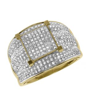 10k Yellow Gold XL Engagement Cocktail Ring with pave Diamonds (1.40 ct)