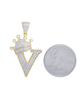 "10K Yellow Gold Diamond Tilted Crown Initial ""V"" Pendant 0.50 Ct 1.6"""