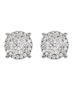 14K White Gold Halo Cluster Genuine Diamond Stud Earrings 1.50ct
