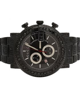 Mens Gucci G Chrono Black PVD Full Black Diamond Watch YA101334 11.5 Ct