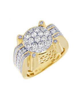 Diamond Designer Cluster Ring in 10K Yellow Gold 1.96 Ct 14mm
