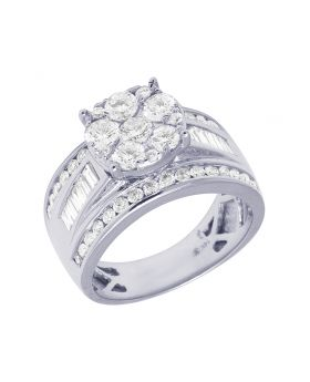 14K White Gold Baguette Solitaire Cluster Diamond Ring 11MM 2CT