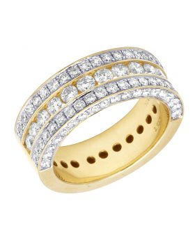 10K Yellow Gold Real Diamond Channel Wedding Band Ring 3.15 CT 9MM