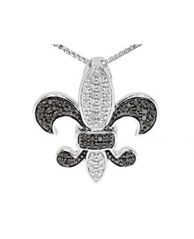 10k White Gold White Black Diamond Fleur De Lis Pendant Charm (0.50 ct)
