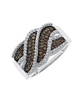 Wave/Swirl Ring with Brown Diamonds (0.35 ct)