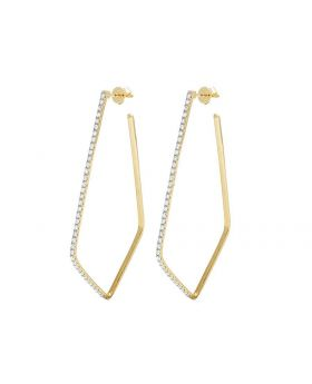 14K Yellow Gold Diamond One Row Designer Dangling Earrings 1 Ct 2.2""