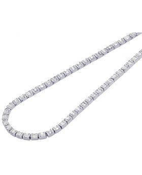 "White Gold 3.5MM Diamond Baguette Invisible Set Necklace 20"" 8.10 CT"