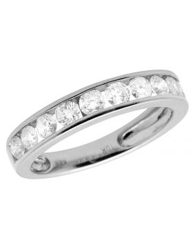 Ladies 10K White Gold Channel Real Diamond Ring Band 1.0CT