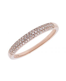 10k Rose Gold Pave Diamond 3mm Domed Band (0.15 ct)