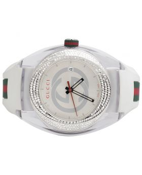 Mens Analog Gucci Sync White 46MM Diamond Watch YA137102 1.25 Ct
