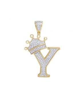 """10K Yellow Gold Diamond Tilted Crown Initial """"Y"""" Pendant 0.55 Ct 1.6"""""""
