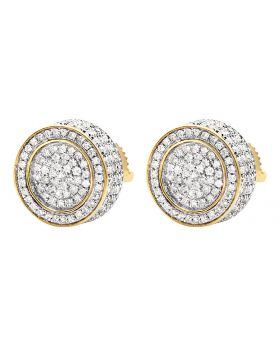 10K Yellow Gold 3D Pave Real Diamond Stud Earrings 1.20ct