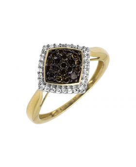 10K Yellow Gold White and Brown Diamond Square Kite-Shape Engagement Ring 1/2CT