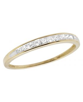 Ladies 10K Yellow Gold Princess Real Diamond Ring Band 0.25ct