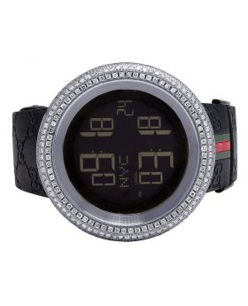 Mens Gucci Digital Dome Bezel 50MM White Diamond Watch YA114207 12.0 Ct